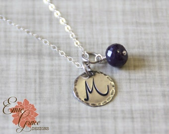 Silver Initial Necklace, Sterling Silver Stamped Disk, Personalized, Birthstone Jewelry, Bridesmaid Gift