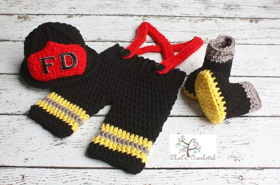 Crochet Patterns For Baby Frocks : Newborn Firefighter Outfit Newborn Photography Prop Crochet