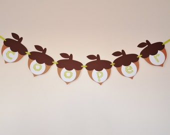 Woodland Birthday Banner - Acorn Banner - Woodland Banner - Woodland Party Decor - Hootsie