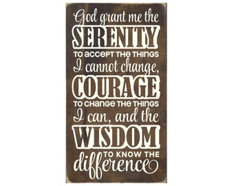 Christian Plaque Rustic Wood Sign Wall Decor - Serenity Prayer  (#1308)