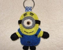 Minions, Stuart, Minion Felt Keychain, One-Eyed Minion, Despicable Me, Key Ring, Key Holder, Gift Bag, Bag Charm, Handmade, Hand Embroidered