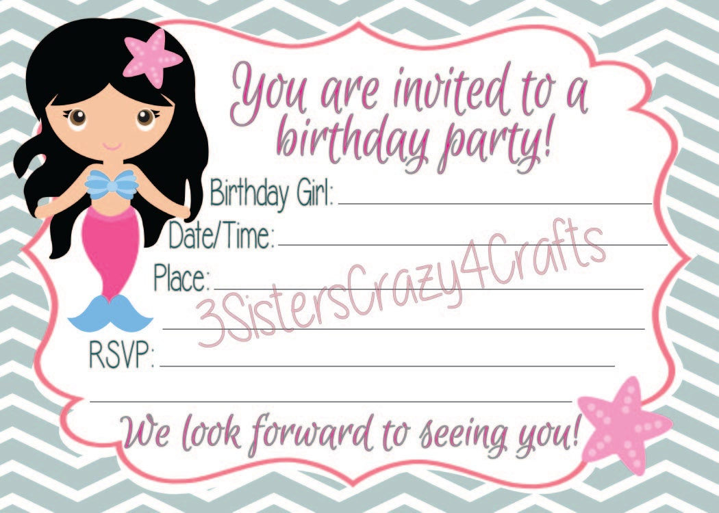 Gray Chevron Brunette Mermaid Birthday Invitation with Free Thank ...