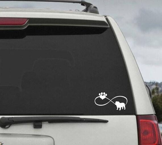 Bulldog Infinity Paw Heart Decal  - Car Window Decal Sticker