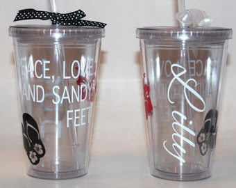 Peace, Love and Sandy Feet, Beach, Flip Flops, Beach Vacation - Personalized Tumbler 16 oz CupTumbler 16 oz Cup