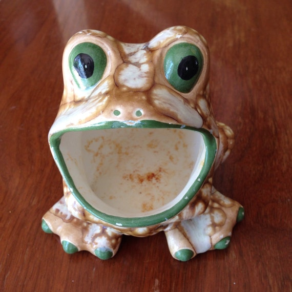 Vintage ceramic brown green white frog sponge holder coin - Frog sponge holder kitchen sink ...