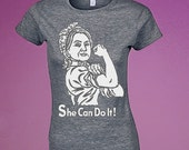 Hillary for President 2016 She Can Do it! womens heather grey fitted  t-shirt tee