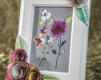 Recycled Handmade Paper Flowers Picture Frame