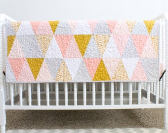 """Triangle Baby Quilt. Modern Quilted Baby Blanket Heirloom Quilt for Baby, Toddler.  """"The Ellie"""" Coral & Mustard. Triangle Quilt, Baby Girl"""