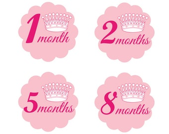 Pink Stickers for Girls,Little Princess Monthly Onesie Stickers,Peel Off Stickers,Photo Stickers,Body Suit Stickers,Baby Shower