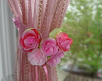 "CLEARANCE  Pink curtain tie backs. ""Pink dream"""