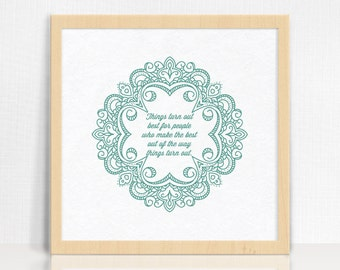 Turn Out Best Print   Inspirational Quote   Eastern Wall Decor