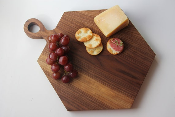 ... Walnut board, Modern Board, Hexagon Board, Cheese Board, Hexagon Tray