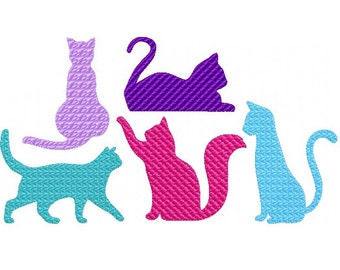 Cats Embroidery Designs - Set of 5 - INSTANT DOWNLOAD