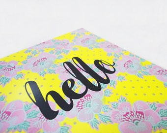 Hello postcard, Yellow floral card