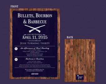 Bullets Bourbon & Barbecue Gentleman's Invitation