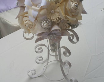 Paper Flower Bridal Bouquet in white, cream, and ivory