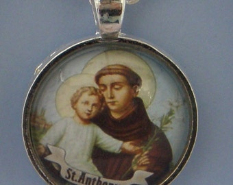 Saint Anthony of Padua Glass Necklace Pendant  - Jewellery Jewelry Gift Present
