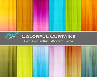 Ombre Colorful Curtain Backgrounds - Digital Scrapbook Papers - 12 sheets, 12x12, CU OK - Instant Download