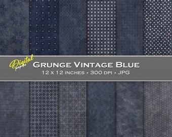 Grunge Dark Vintage Blue Backgrounds - Digital Scrapbook Papers - 12 sheets, 12x12, CU OK - Instant Download