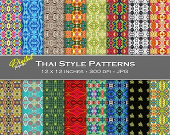 Thai Style Pattern Backgrounds - Digital Scrapbook Papers - 16 sheets, 12x12, CU OK - Instant Download
