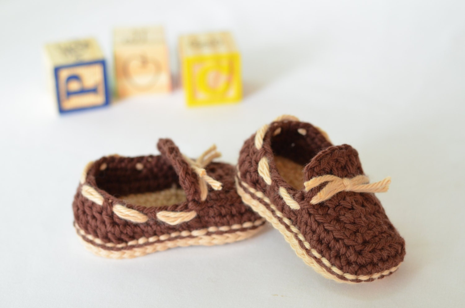 Crocheted Baby Boat Shoes Baby Boy or Girl Shoes
