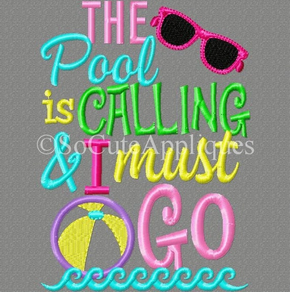 Items similar to embroidery design 5x7 the pool is calling for Pool design pattern