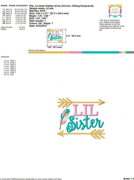 Embroidery design 4x4 5x7 6x10 Big Sister Lil Sister feather u0026 arrows, Embroidery sayings ...