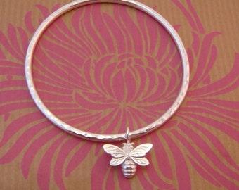 Bee Bangle, bee jewellery, silver bangle, Uk handmade
