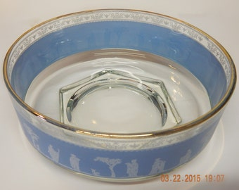 "JEANNETTE GLASS Co. ""Hellenic"" Crystal Bowl w/ White Grecian Figures on Blue Band --circa 1950"
