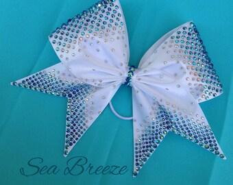 Sea Breeze - Hand Sewn Fabric Cheer Bow