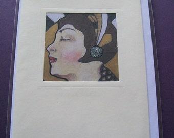 Vintage inspired Art Deco Lady blank greetings card/notelet