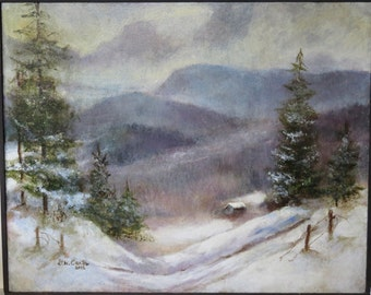 """Acrylic Painting on Stretched Canvas """"Winter Seclusion"""" by artist Walt Carter"""