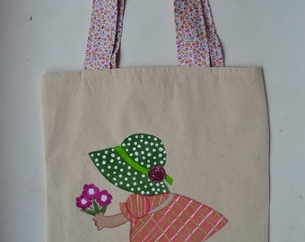 Hand Painted Sunbonnet Sue Cotton Bag, 12.5 x 13.5""