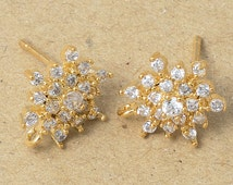 Cubic Flower Earrings,Snow flake, 925 Silver Post, Jewelry Craft Supplies, Polished Gold Plated Over Brass - 2 Pieces-[BE0006]-PG