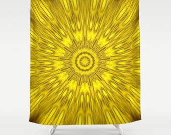 Shower Curtain, Yellow Shower Curtain, Yellow Kaleidoscope Shower Curtain, Bathroom Decor, Yellow Home Decor, Yellow Bathroom, Goldenrod