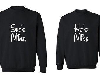 Couple Sweatshirt - She is Mine & He is Mine - 2 Couple Matching Love Crewneck Sweatshirts