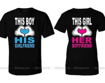 Couple T-shirt - This Boy and Girl Loves His and Her Girlfriend & Boyfriend  - 2 Couple Tees - Matching Love Crewneck T-shirts