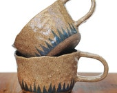 BLUE TRIANGLE MUG - Hand Built - Stoneware Clay - Clear Glaze - Made to Order - Free Postage Australia Wide