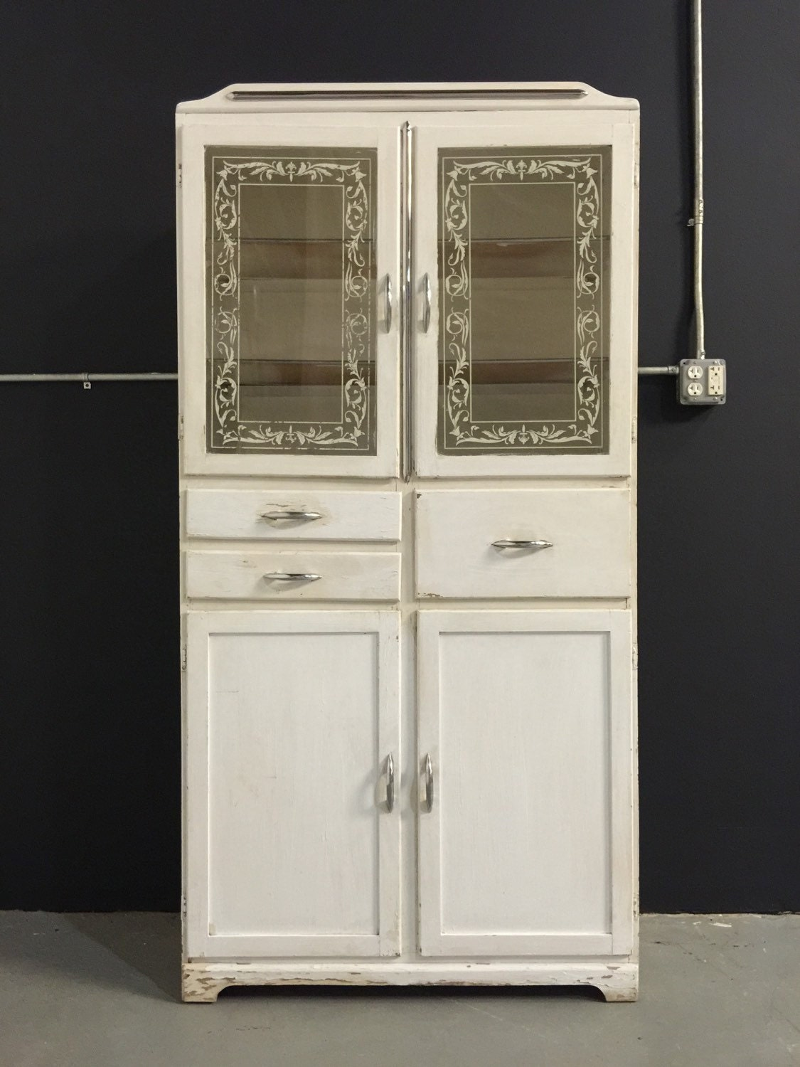 Vintage 1940s tall medicine cabinet glass doors white Glass cabinet doors