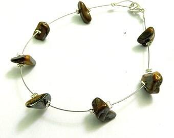 Chic ethnic bracelet brown tiger eye handmade chic fashion jewelry natural gemstone yellow tiger eye jewel dainty thin bracelet handmad laya