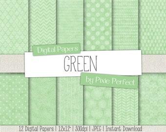 Green Mint Patterns Digital Paper - GREEN Paper Pack Scrapbook Paper Backgrounds Instant Download Commercial Use ok CU4CU (68)
