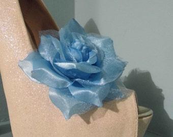 Beautiful Deeree Blue Rose Style Shoe Clips.