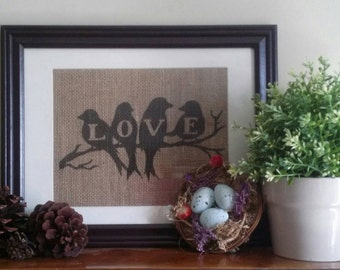 Love Birds Art, Burlap Bird Sign