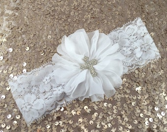 Baptism headband, christening headband, cross headband - white hair clip or headband on white stretch lace with rhinestone cross center!
