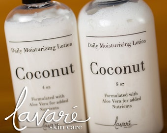 Coconut Lotion, Body Lotion, Hand Lotion, Aloe Vera Lotion, Natural Lotion, Handcrafted Lotion, Homemade Lotion, Daily Moisturizing Lotion
