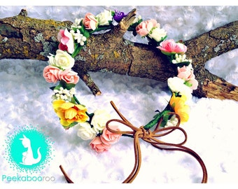 Baby Flower Crown, Woodland Baby Crown, Flower Crown, Boho Crown, Birthday Crown