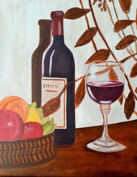 Still life oil acrylic painting wine bottle and fruit basket for How to paint a wine glass with acrylics