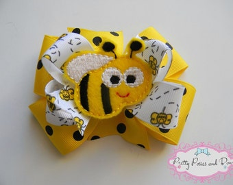 Bumble Bee Hair Bow, Bumble Bee Bow, Bee Bow, Bee Hair Bow, Yellow Hair Bow, Photo Prop, Girl Gift, Bumble Bee Headband