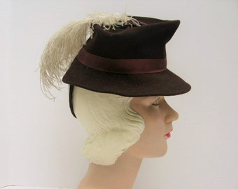 1940's Brown Wool Felt Toy Tilt Hat with Ostrich Plume  / Humpty Dumpty Heart