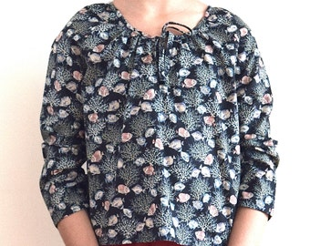 Top for girls size 4 to 16 - French handmade children's clothing